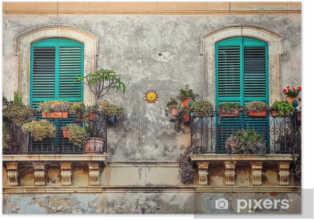 Beautiful vintage balcony with colorful flowers and doors Poster - Monuments