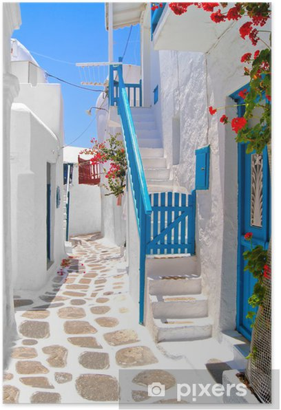 Beautiful white streets of Mykonos, Greece Poster - Themes