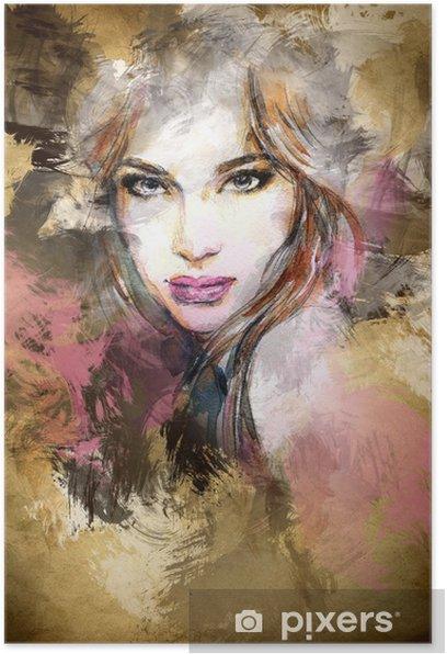 Beautiful woman face. watercolor illustration Poster -