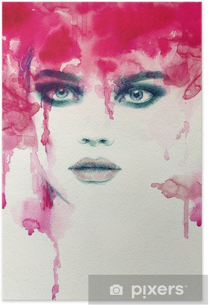 Beautiful woman. watercolor illustration Poster - People