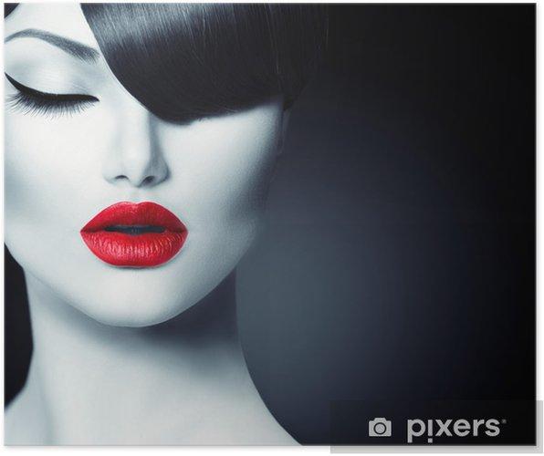 Póster Beauty Girl Fashion Glamour Con Trendy Fringe Peinado - Moda