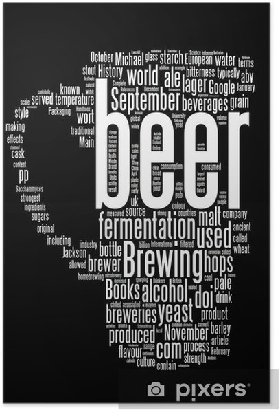 Beer word collage isolated on black n.2 Poster - Signs and Symbols