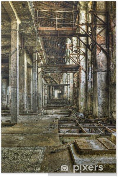 Poster Bekijk in een lange gang in een oud verlaten kolenmijn - Zakelijke Concepten