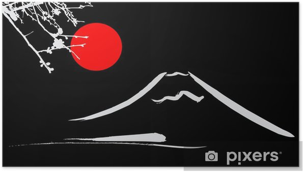 Poster Bekijk Mount Fuji Kyoto en Osaka bloemen rode zon - Aziatische steden