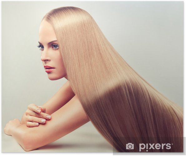 poster belle femme blonde avec de longs cheveux sains et brillants   u2022 pixers u00ae