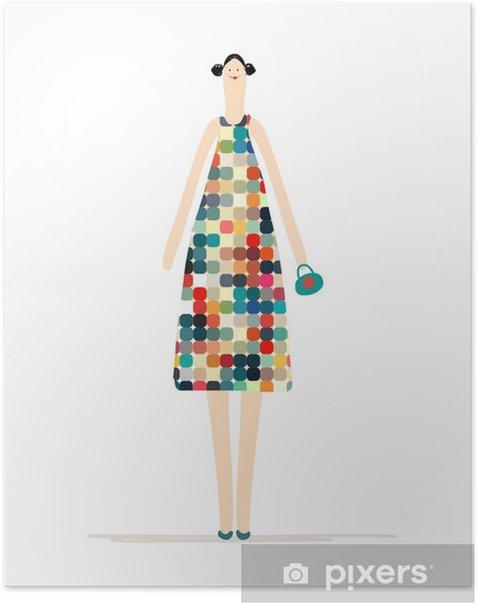 Poster Belle Femme En Robe Coloree Pour Votre Conception Pixers Nous Vivons Pour Changer
