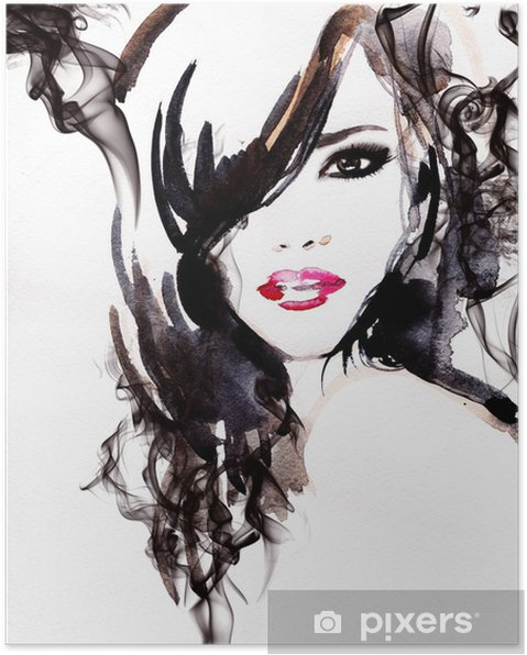 Poster Belle femme. illustration d'aquarelle - Styles