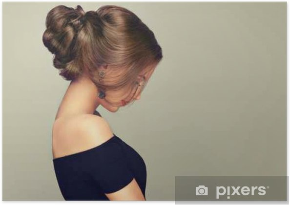 Poster Belle Fille Modele Avec Coiffure Elegante Femme Avec Le