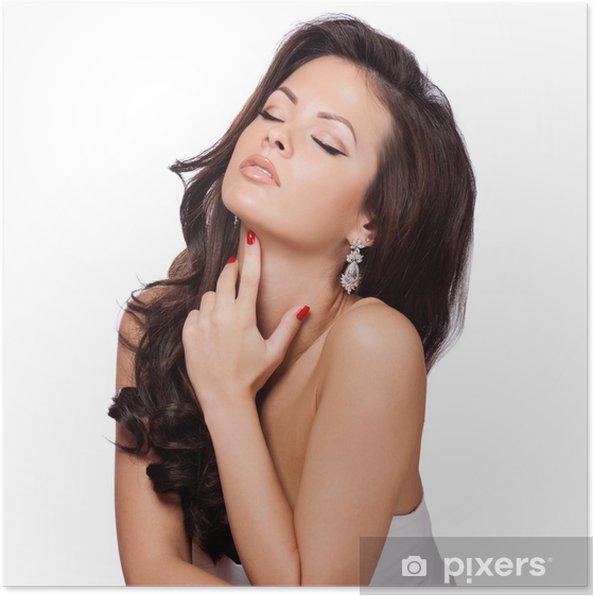 Poster Belle jeune femme élégante avec des cheveux brillants à long - Mode