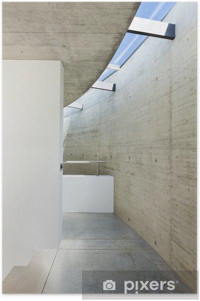 Poster Belle maison contemporaine dans le ciment, intérieur, passage