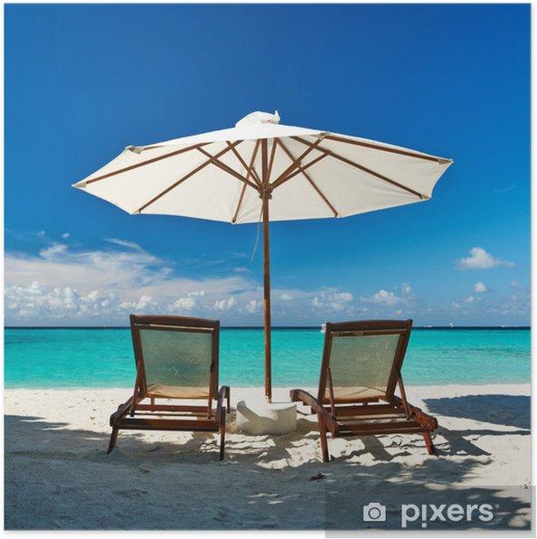 Poster Belle plage à Maldives - Vacances