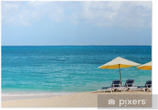 Poster Belle plage des Caraïbes - Vacances
