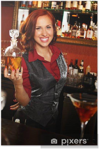 Poster Belle serveuse avec une bouteille derrière comptoir de bar - Magasins