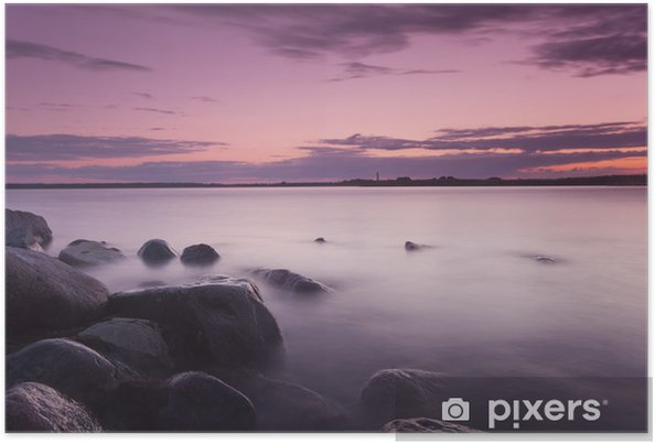 Poster Belle sundawn de la côte suédoise, photo grand angle - Thèmes