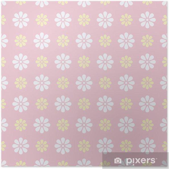 Poster Belle vecteur, seamless (carrelage). Rose bonbon, blanc -