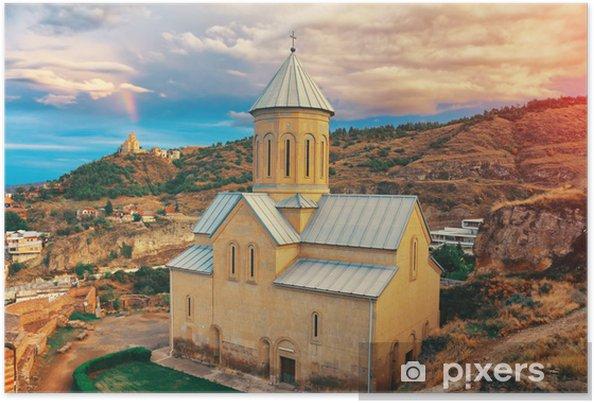 Poster Belle vue panoramique sur la ville de Tbilissi au coucher du soleil. - Paysages urbains