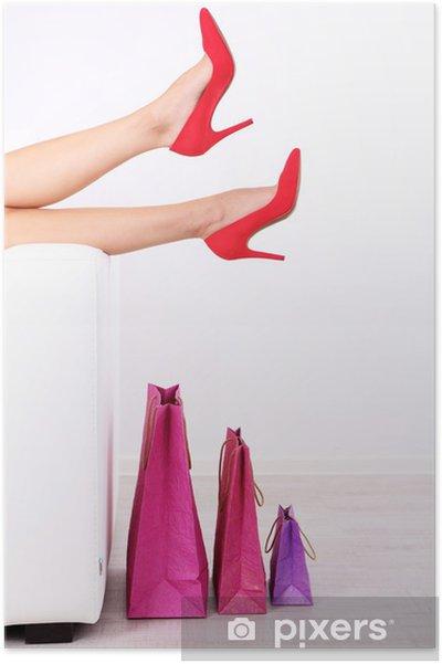Poster Belles jambes de femmes en chaussures rouges - Thèmes