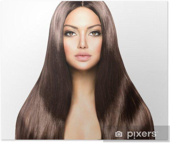 Póster Belleza mujer con largo cabello castaño liso sano y brillante - Moda