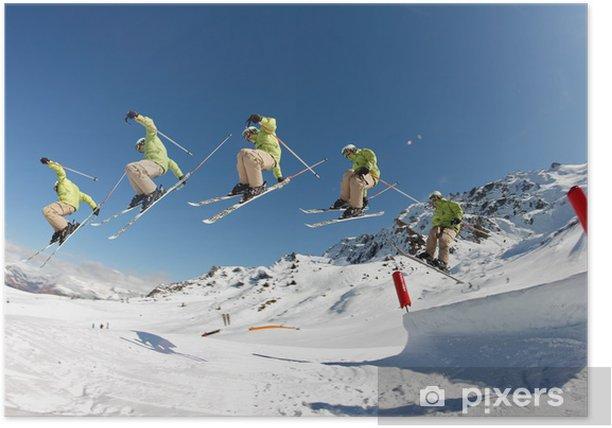 Poster Benne à ciel chiffre - Saisi de ski sur le visage la Antérieur - Sports d'hiver