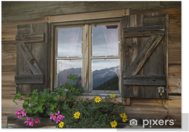 Poster Berghütte einer Fenster in Südtirol - Sports d'extérieur