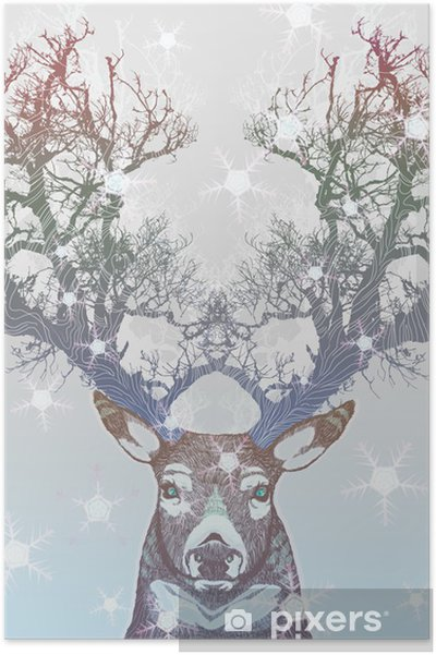 Poster Bevroren boom hoorn herten -