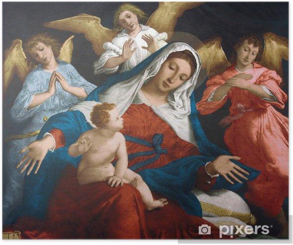 276b421d8f495 Poster Bienheureuse Vierge Marie avec l Enfant Jésus et des anges ...