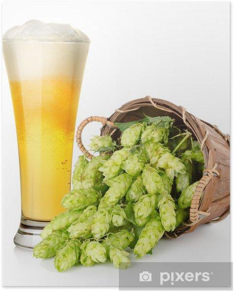 Poster Bière et houblon dans le panier - Alcool