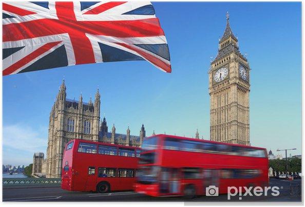 Poster Big Ben met een stadsbus en de vlag van Engeland, Londen - Thema's