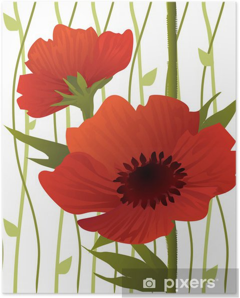 Poster Big Poppies Seamless Pattern - Thèmes