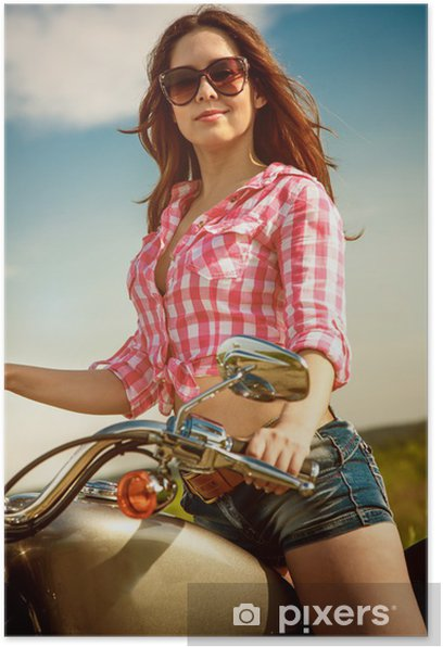 Biker girl sitting on motorcycle Poster - Women
