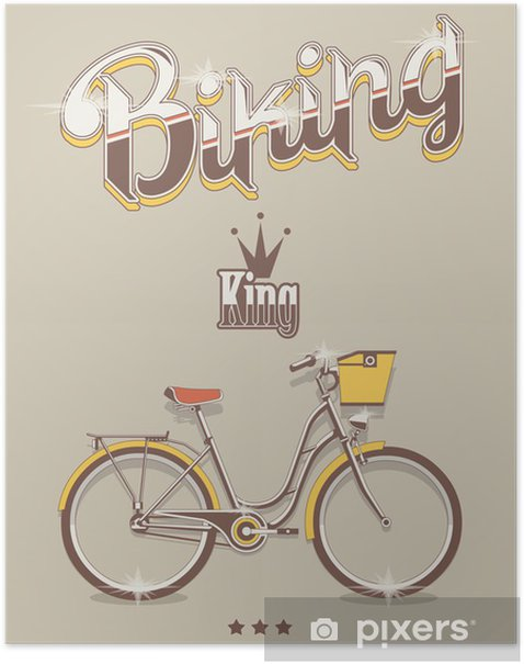 Biking background, vector bicycle king Poster - On the Road