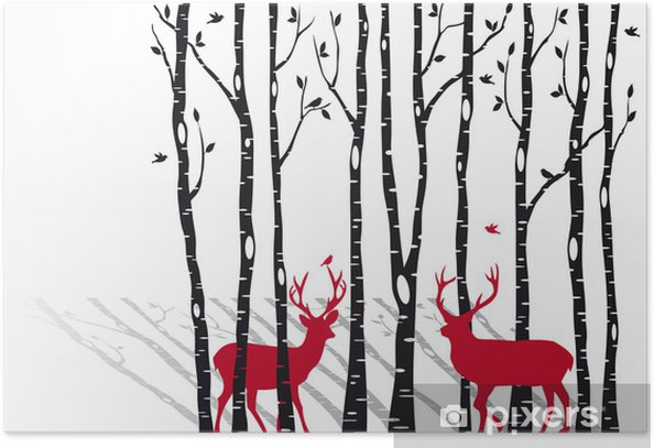 birch trees with christmas deers, vector Poster -