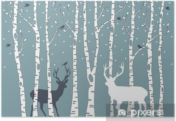 birch trees with deer, vector background Poster - Styles