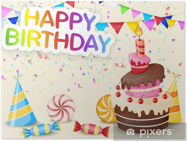 Birthday Background With Cake Poster