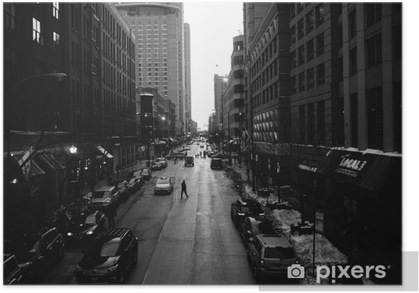 Black and White Chicago Streets Poster - Buildings and Architecture