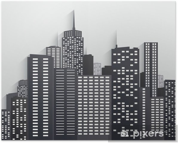 Black And White City Skyline Poster Heavy Industry