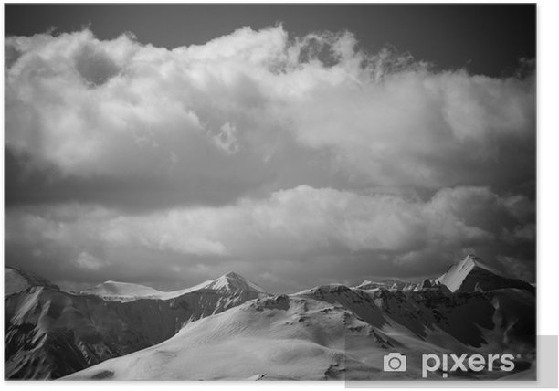 Black and white mountain landscape. Alps summits Poster - Styles
