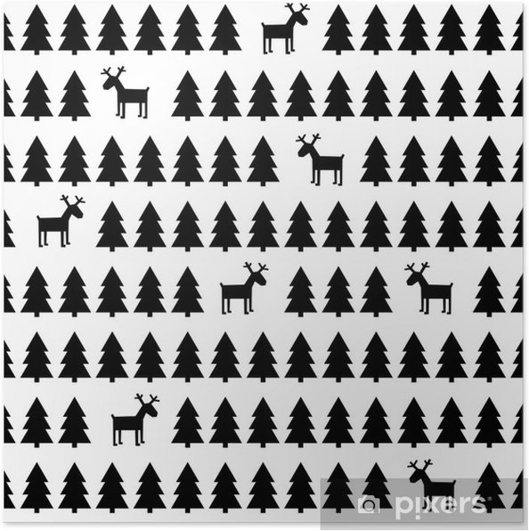 black and white simple seamless retro christmas pattern deers xmas trees happy new year background vector design for winter holidays poster