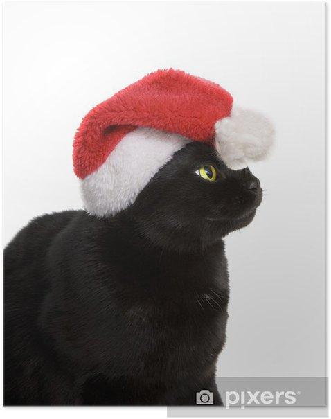 Poster Black Cat Santa - chat mignon de Noël sur fond blanc - Fêtes internationales