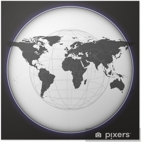 Black World Map Vector Poster Pixers We Live To Change