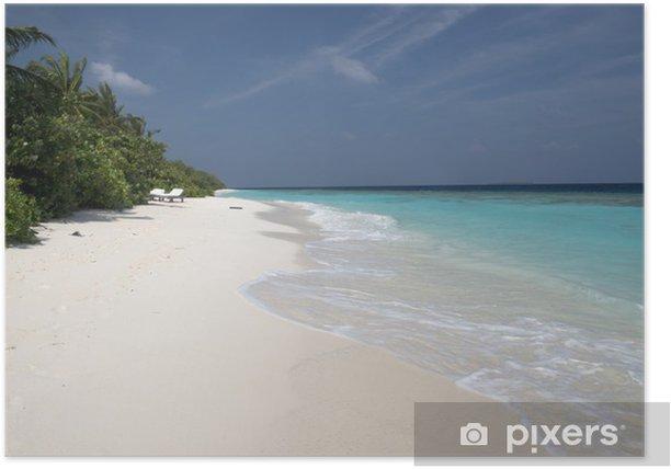 Poster Blanc plage des Maldives - Vacances