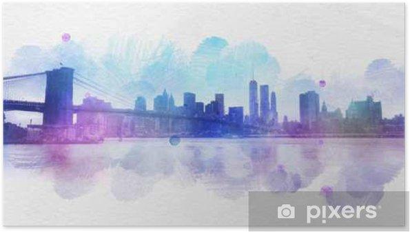 Poster Blank aquarelle carte postale New York City - Ressources graphiques