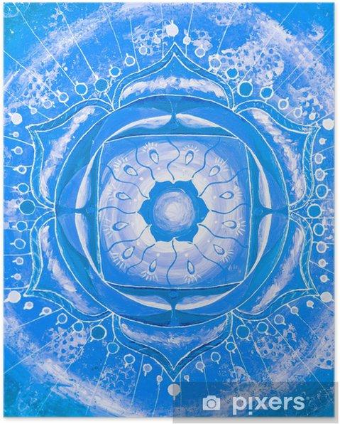 f1ecd0df978 Poster Blauw geschilderd beeld met cirkel patroon, mandala van de vi ...