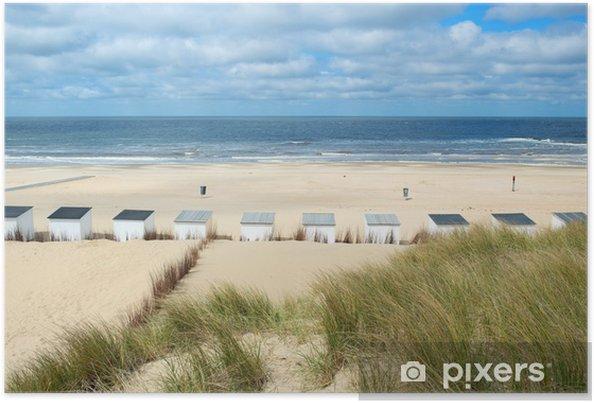 Poster Blauw strand hutten op Texel - Vakantie