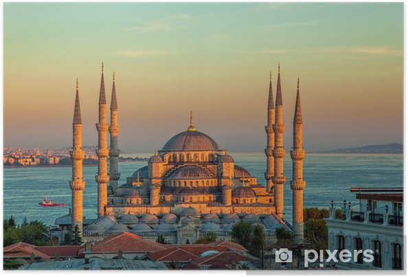 Poster Blauwe moskee in Istanbul in zonsondergang - Thema's