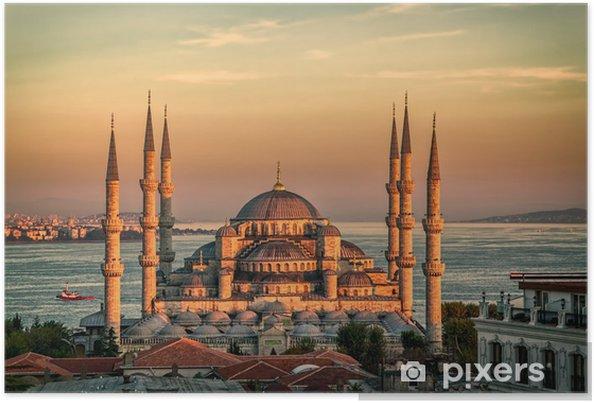 Poster Blauwe Moskee in Istanbul - zonsondergang - Midden Oosten