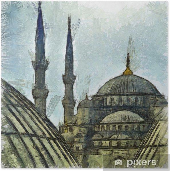 Poster Blauwe Moskee tekening - Kunst en Creatie