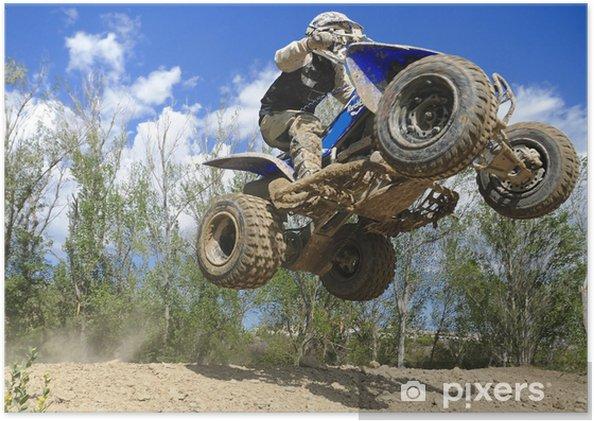Poster Blauwe quad springen - Extreme sport