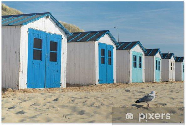 Poster Blauwe strandhuisjes - Thema's
