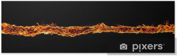 Poster Blazing flammes sur fond noir - Textures
